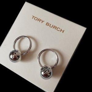 Tory Burch Silver Logo Stud Drop Dangle Earrings